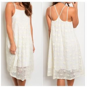 Ivory Overlay Lace Tunic Dress